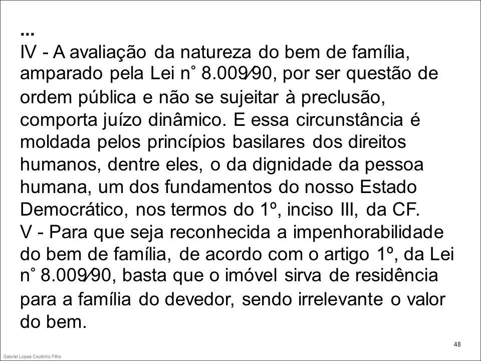 ... IV - A avaliação da natureza do bem de família, amparado pela Lei n° 8.00990, por ser questão de ordem pública e não se sujeitar à preclusão, comp
