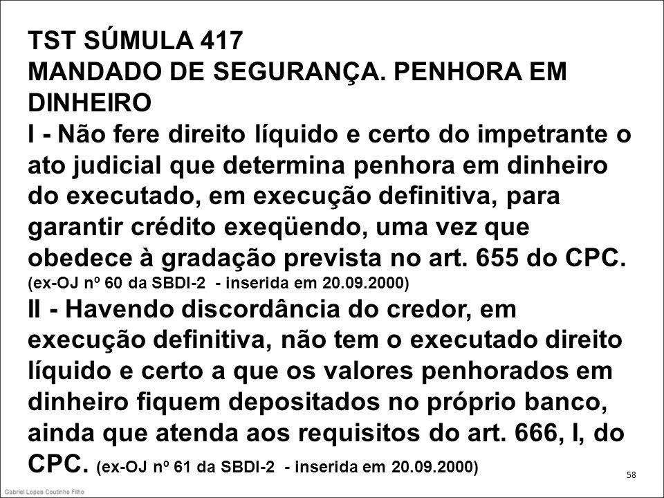 TST SÚMULA 417 MANDADO DE SEGURANÇA. PENHORA EM DINHEIRO I - Não fere direito líquido e certo do impetrante o ato judicial que determina penhora em di