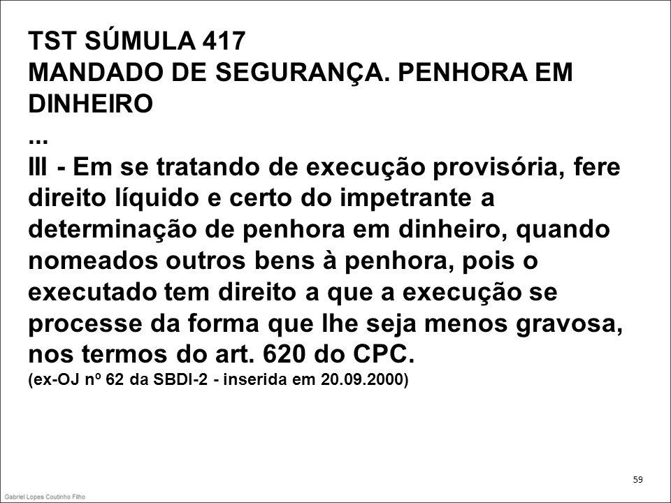 TST SÚMULA 417 MANDADO DE SEGURANÇA. PENHORA EM DINHEIRO... III - Em se tratando de execução provisória, fere direito líquido e certo do impetrante a