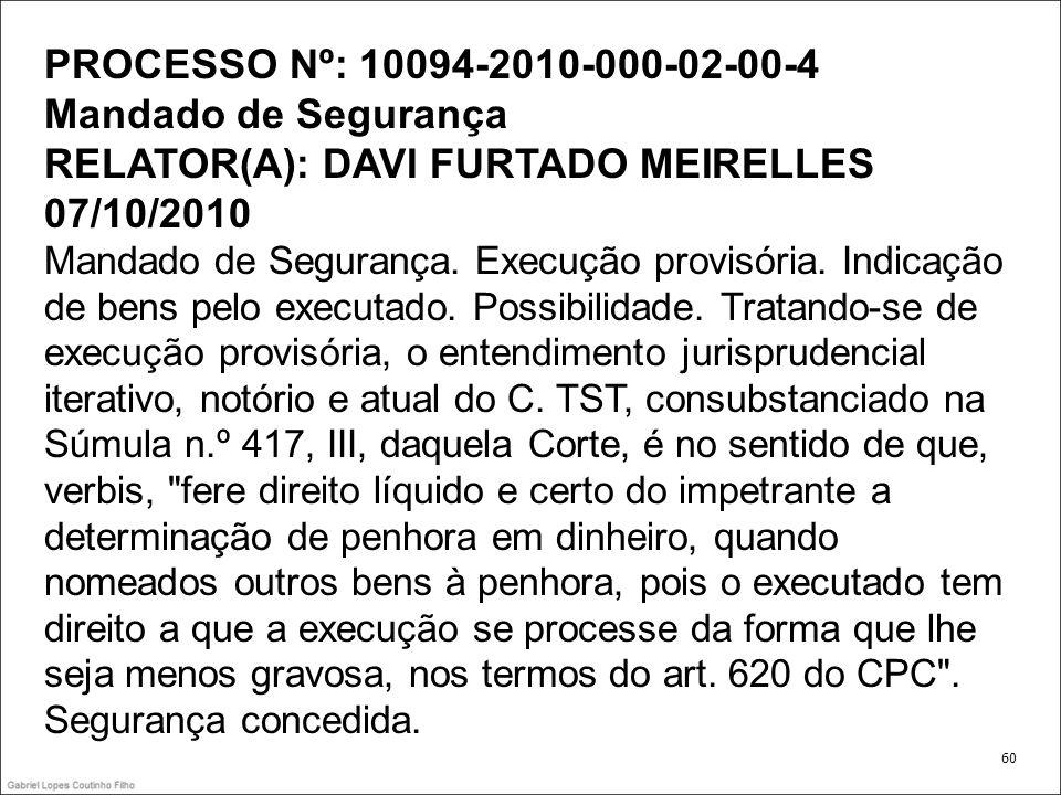 PROCESSO Nº: 10094-2010-000-02-00-4 Mandado de Segurança RELATOR(A): DAVI FURTADO MEIRELLES 07/10/2010 Mandado de Segurança. Execução provisória. Indi