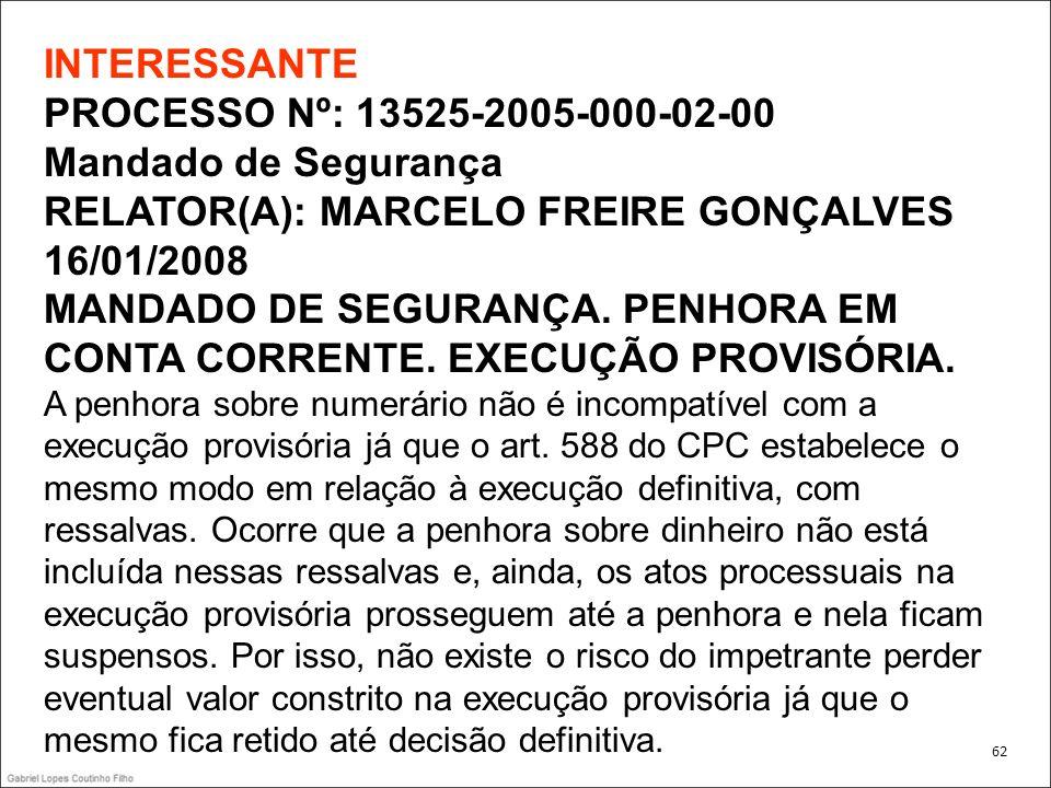 INTERESSANTE PROCESSO Nº: 13525-2005-000-02-00 Mandado de Segurança RELATOR(A): MARCELO FREIRE GONÇALVES 16/01/2008 MANDADO DE SEGURANÇA. PENHORA EM C