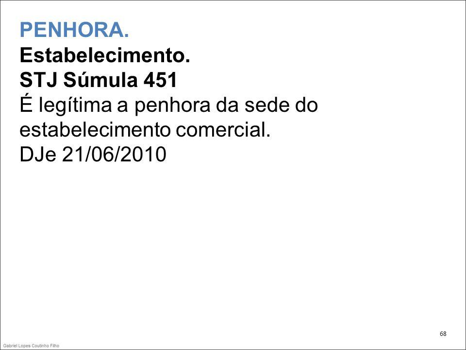 PENHORA. Estabelecimento. STJ Súmula 451 É legítima a penhora da sede do estabelecimento comercial. DJe 21/06/2010 68