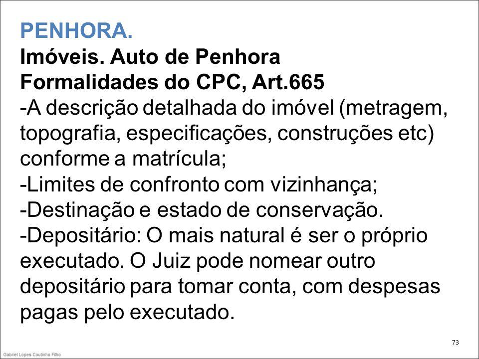PENHORA. Imóveis. Auto de Penhora Formalidades do CPC, Art.665 -A descrição detalhada do imóvel (metragem, topografia, especificações, construções etc