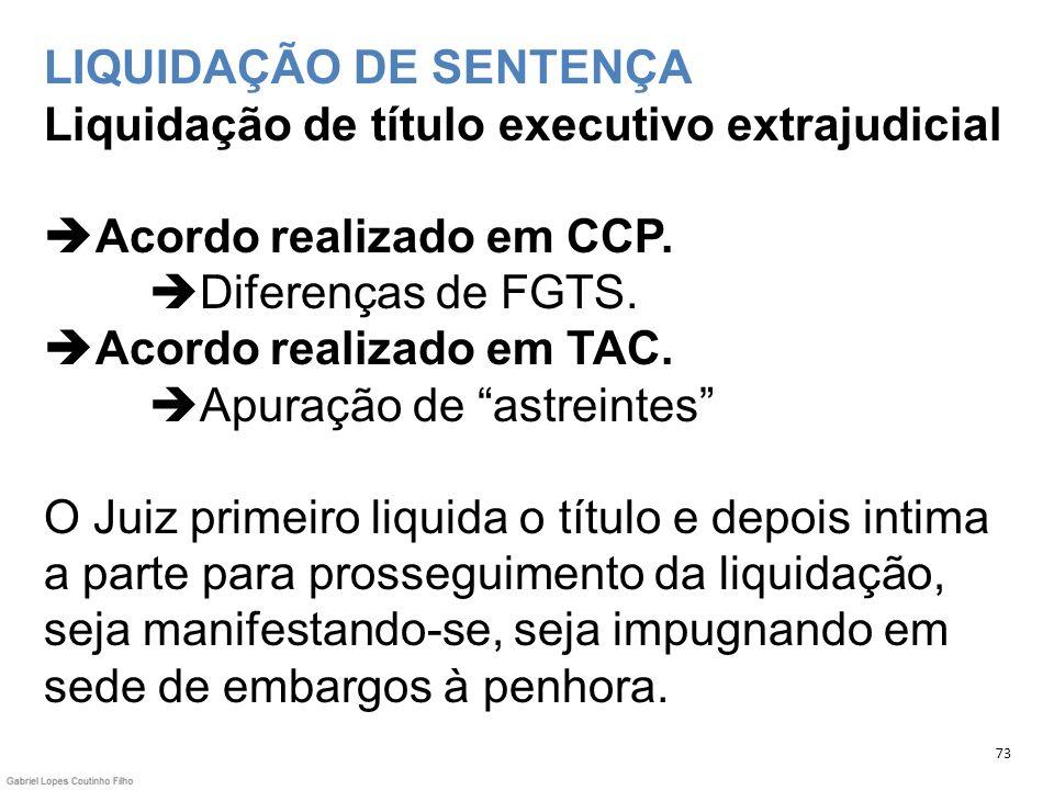 LIQUIDAÇÃO DE SENTENÇA Liquidação de título executivo extrajudicial Acordo realizado em CCP. Diferenças de FGTS. Acordo realizado em TAC. Apuração de