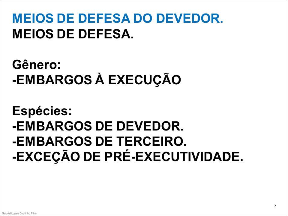 MEIOS DE DEFESA DO DEVEDOR.MEIOS DE DEFESA.