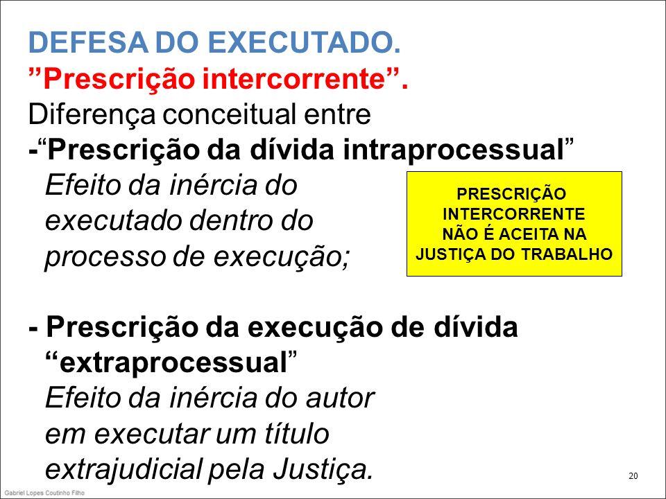 DEFESA DO EXECUTADO.Prescrição intercorrente.