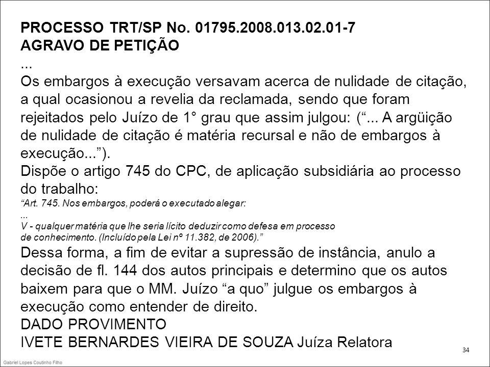 PROCESSO TRT/SP No.01795.2008.013.02.01-7 AGRAVO DE PETIÇÃO...