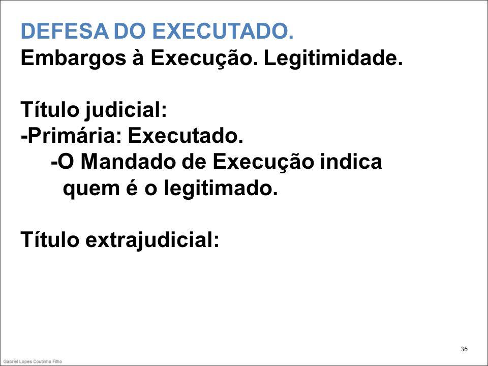 DEFESA DO EXECUTADO.Embargos à Execução. Legitimidade.