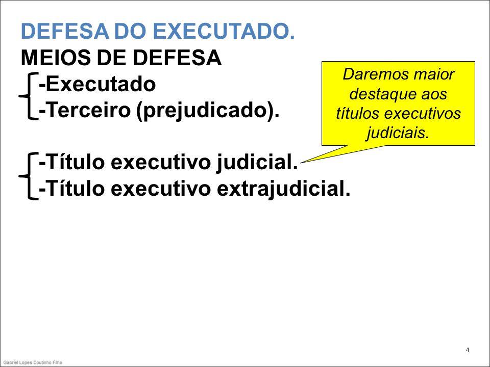 DEFESA DO EXECUTADO.MEIOS DE DEFESA -Executado -Terceiro (prejudicado).