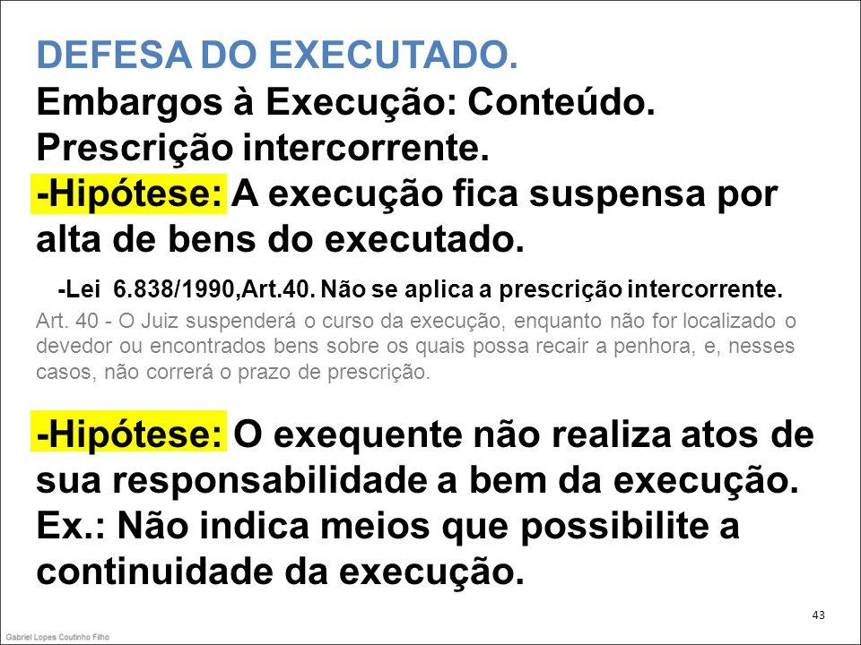43 DEFESA DO EXECUTADO.Embargos à Execução: Conteúdo.