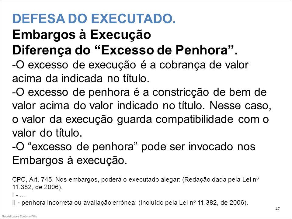 DEFESA DO EXECUTADO.Embargos à Execução Diferença do Excesso de Penhora.