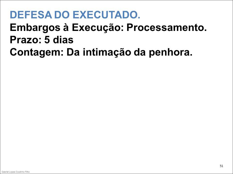 DEFESA DO EXECUTADO.Embargos à Execução: Processamento.
