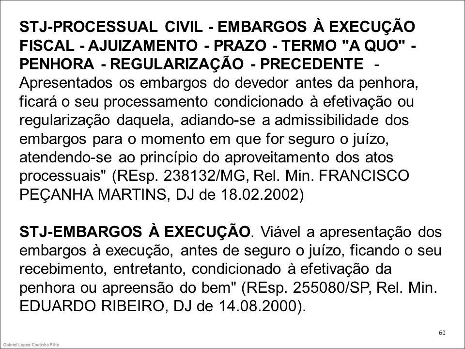STJ-PROCESSUAL CIVIL - EMBARGOS À EXECUÇÃO FISCAL - AJUIZAMENTO - PRAZO - TERMO A QUO - PENHORA - REGULARIZAÇÃO - PRECEDENTE - Apresentados os embargos do devedor antes da penhora, ficará o seu processamento condicionado à efetivação ou regularização daquela, adiando-se a admissibilidade dos embargos para o momento em que for seguro o juízo, atendendo-se ao princípio do aproveitamento dos atos processuais (REsp.