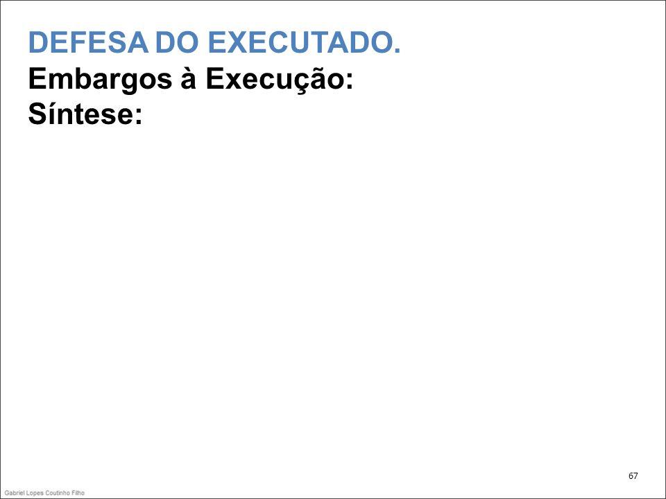 DEFESA DO EXECUTADO. Embargos à Execução: Síntese: 67
