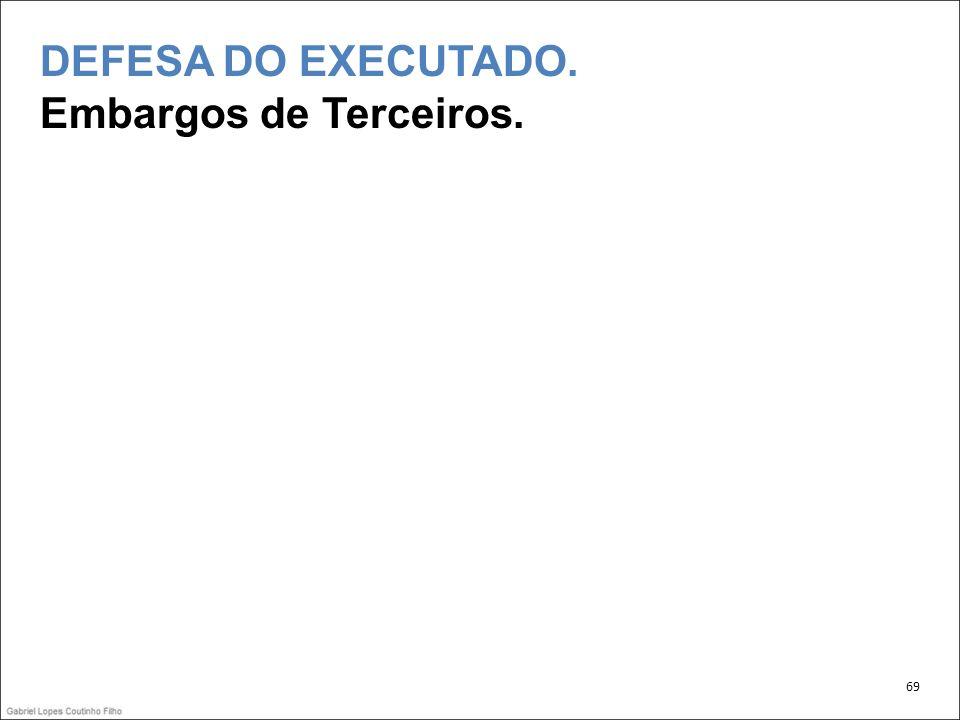 DEFESA DO EXECUTADO. Embargos de Terceiros. 69