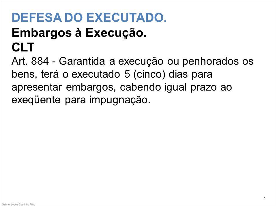 DEFESA DO EXECUTADO.Embargos à Execução. CLT Art.