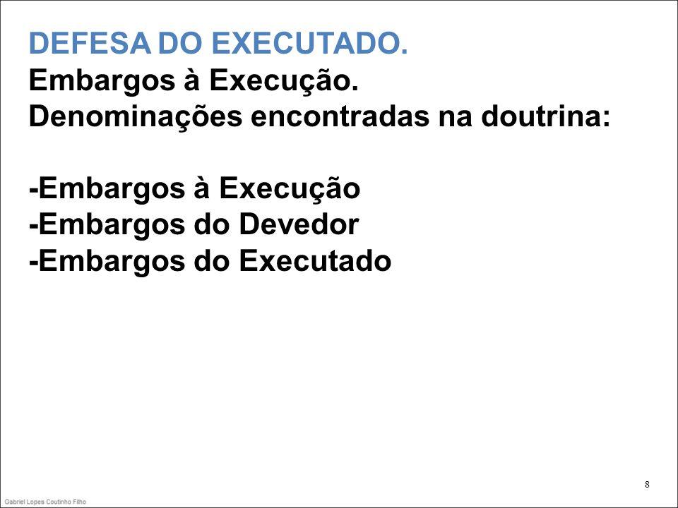 DEFESA DO EXECUTADO.Embargos à Execução.