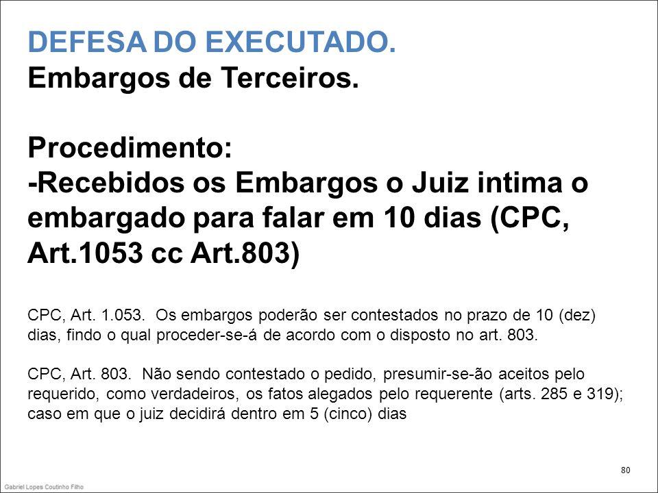 DEFESA DO EXECUTADO.Embargos de Terceiros.