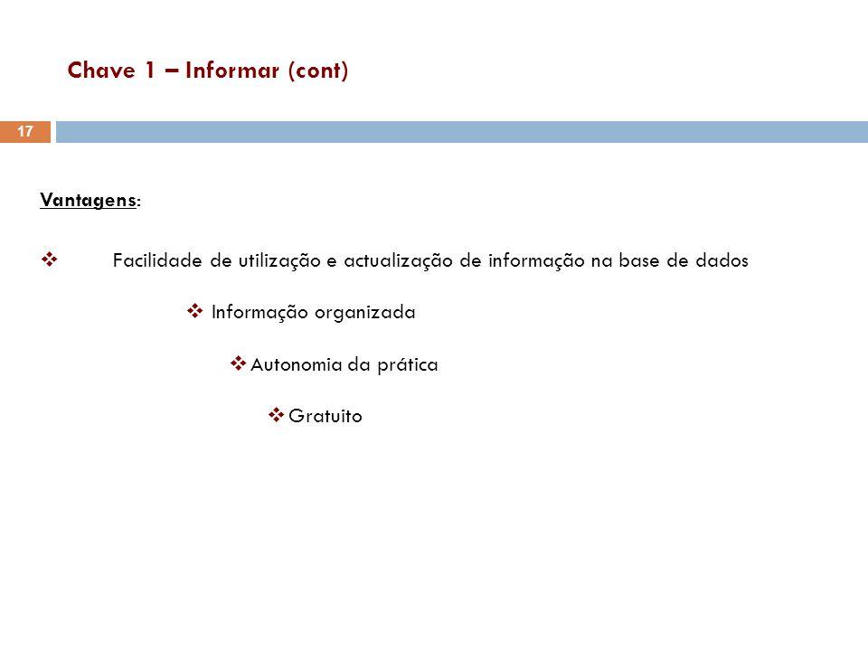 Chave 1 – Informar (cont) Vantagens: Facilidade de utilização e actualização de informação na base de dados Informação organizada Autonomia da prática