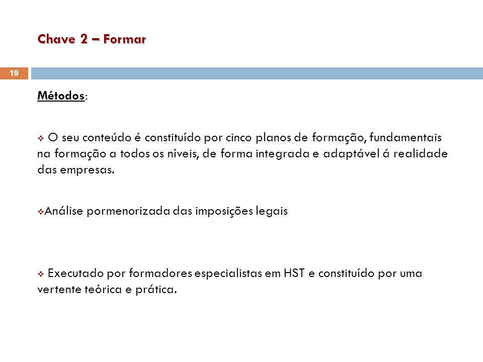 Chave 2 – Formar Métodos: O seu conteúdo é constituído por cinco planos de formação, fundamentais na formação a todos os níveis, de forma integrada e