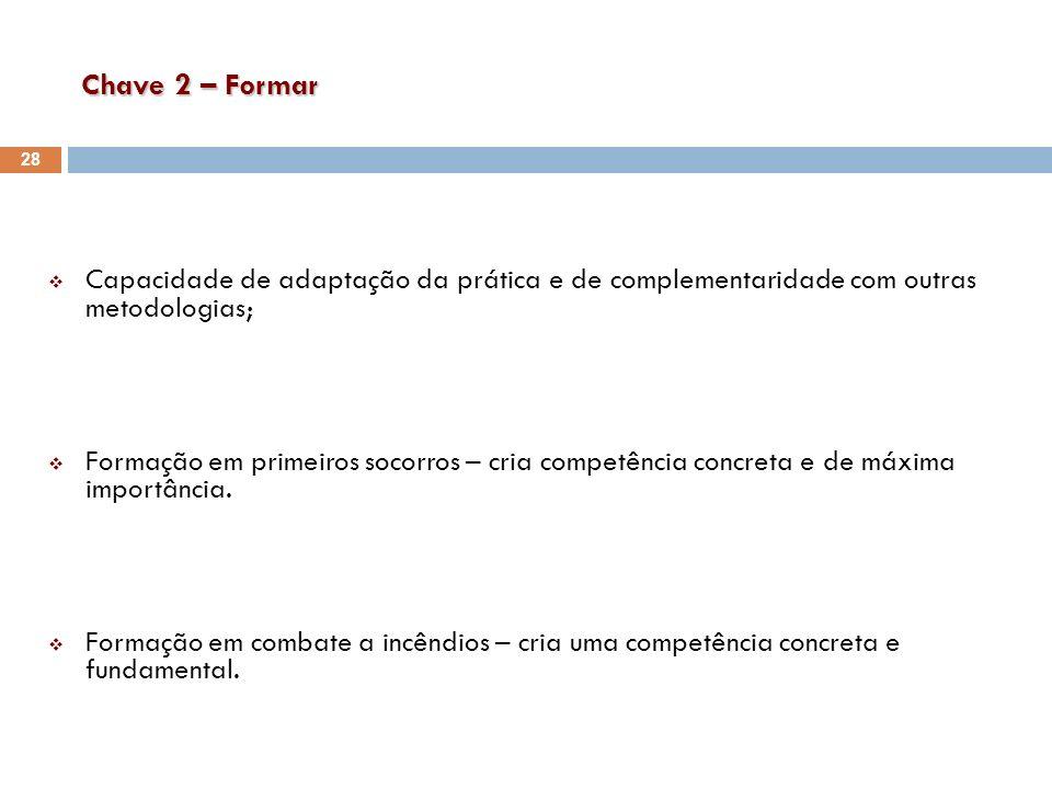 Chave 2 – Formar Capacidade de adaptação da prática e de complementaridade com outras metodologias; Formação em primeiros socorros – cria competência