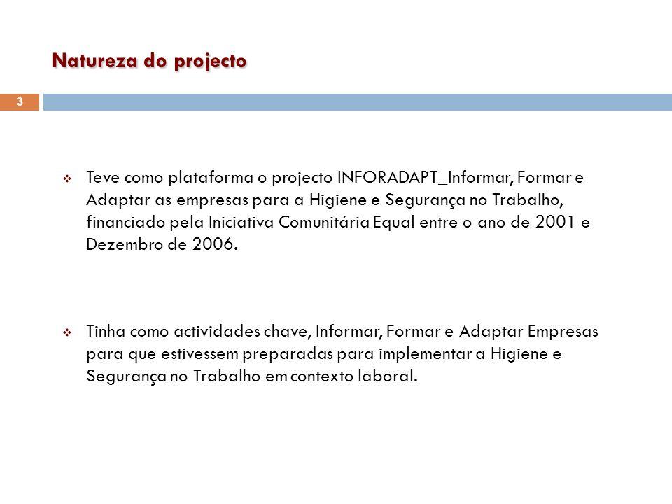 Objectivos Setembro 2009, os produtos inforadapt são incorporados na prática diária de 60% dos parceiros através da incorporação dos produtos elaborados no âmbito do projecto Inforadapt_Informar, Formar e Adaptar as Empresas para a HST.
