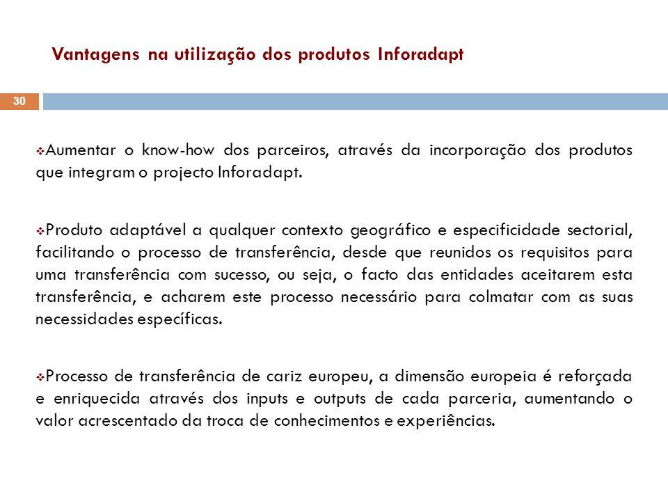 Vantagens na utilização dos produtos Inforadapt Aumentar o know-how dos parceiros, através da incorporação dos produtos que integram o projecto Infora