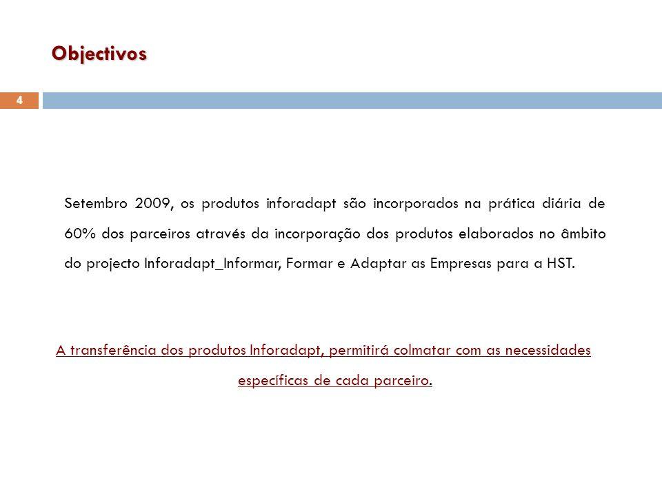 Objectivos Setembro 2009, os produtos inforadapt são incorporados na prática diária de 60% dos parceiros através da incorporação dos produtos elaborad