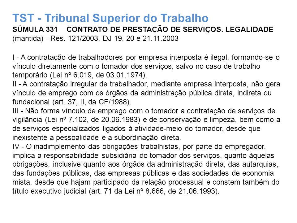 TST - Tribunal Superior do Trabalho SÚMULA 331 CONTRATO DE PRESTAÇÃO DE SERVIÇOS. LEGALIDADE (mantida) - Res. 121/2003, DJ 19, 20 e 21.11.2003 I - A c