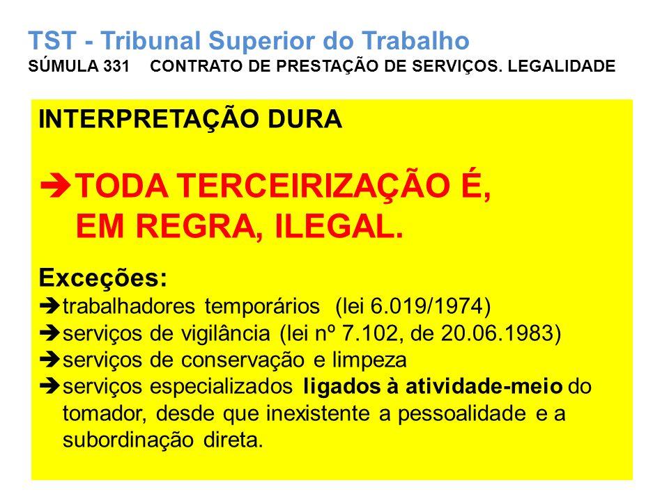 TST - Tribunal Superior do Trabalho SÚMULA 331 CONTRATO DE PRESTAÇÃO DE SERVIÇOS. LEGALIDADE INTERPRETAÇÃO DURA TODA TERCEIRIZAÇÃO É, EM REGRA, ILEGAL