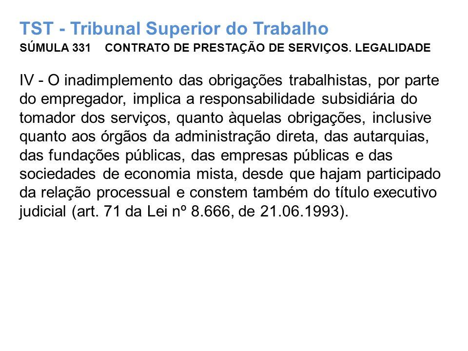 TST - Tribunal Superior do Trabalho SÚMULA 331 CONTRATO DE PRESTAÇÃO DE SERVIÇOS. LEGALIDADE IV - O inadimplemento das obrigações trabalhistas, por pa