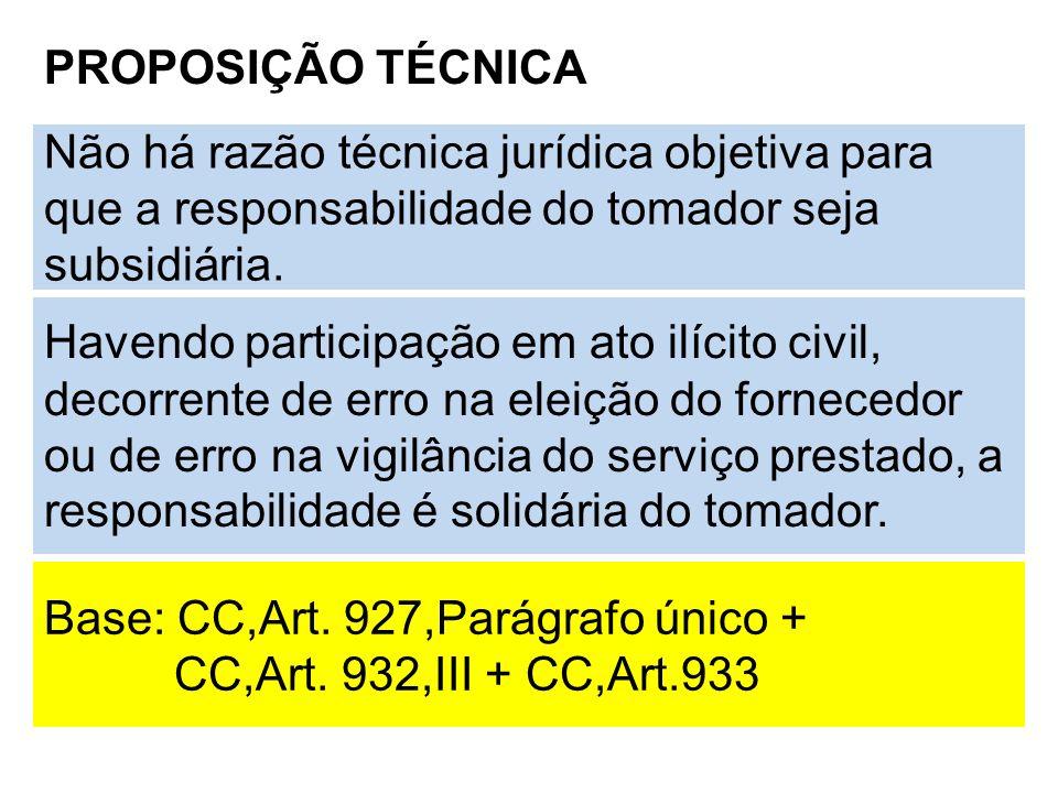 PROPOSIÇÃO TÉCNICA Não há razão técnica jurídica objetiva para que a responsabilidade do tomador seja subsidiária. Havendo participação em ato ilícito