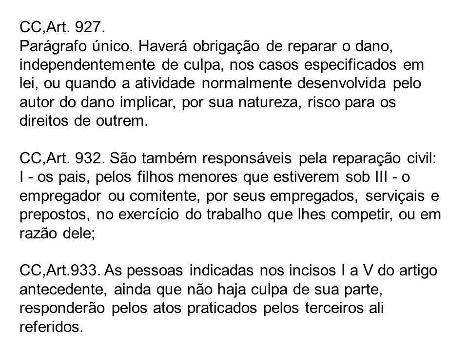 CC,Art. 927. Parágrafo único. Haverá obrigação de reparar o dano, independentemente de culpa, nos casos especificados em lei, ou quando a atividade no