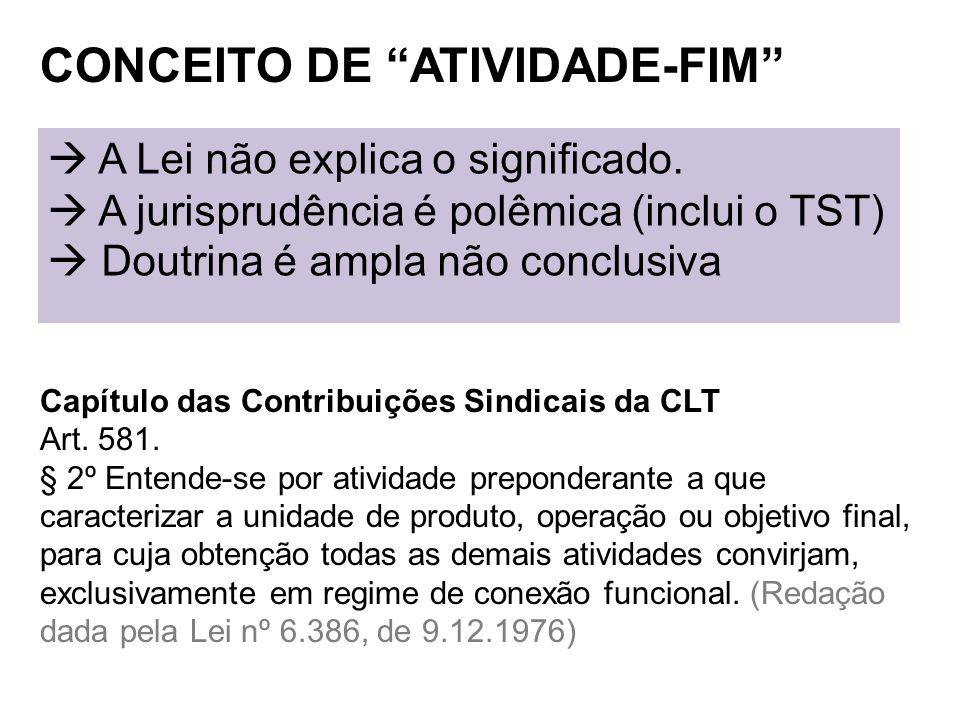 CONCEITO DE ATIVIDADE-FIM Capítulo das Contribuições Sindicais da CLT Art. 581. § 2º Entende-se por atividade preponderante a que caracterizar a unida