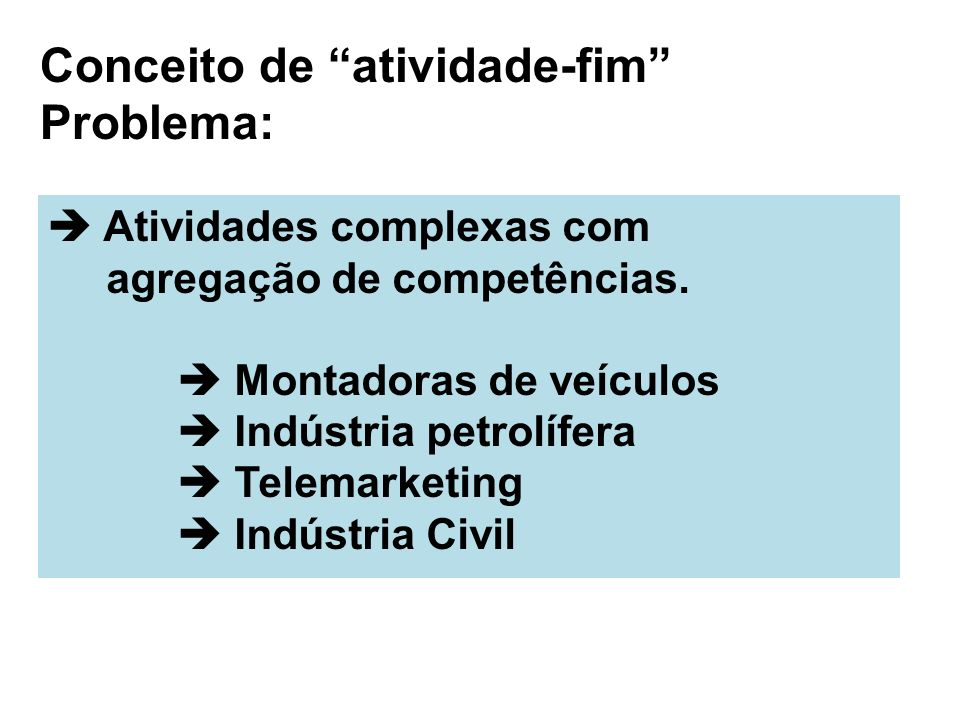 Conceito de atividade-fim Problema: Atividades complexas com agregação de competências. Montadoras de veículos Indústria petrolífera Telemarketing Ind