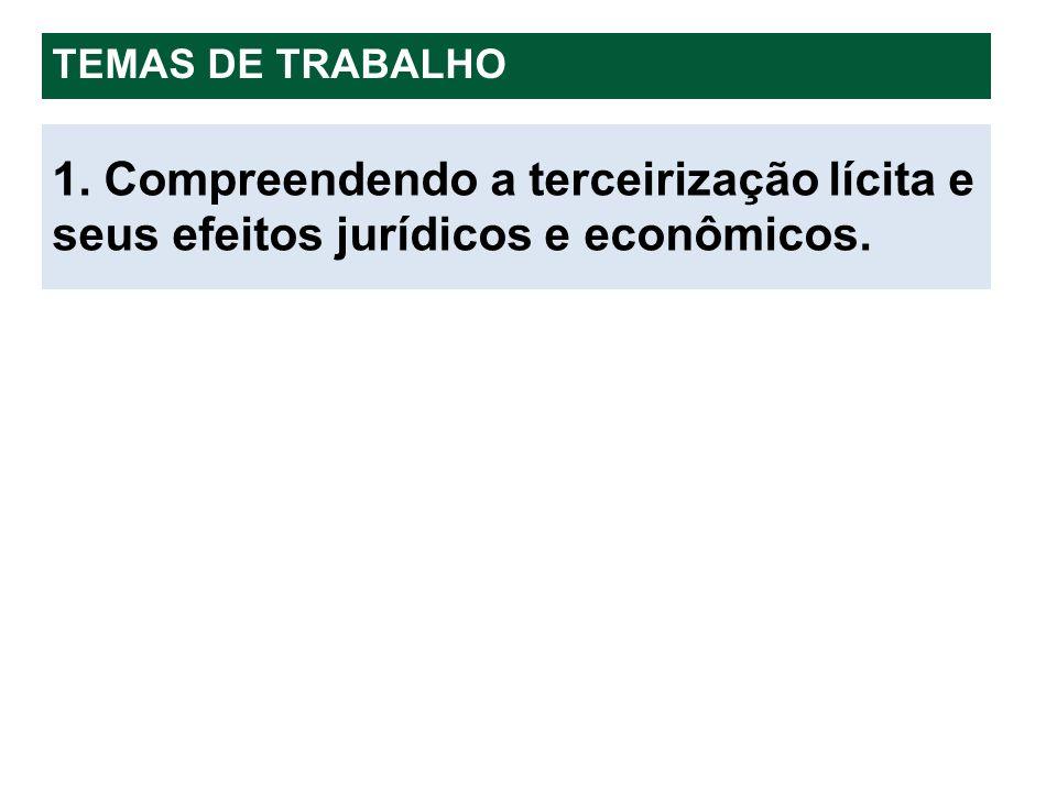 1. Compreendendo a terceirização lícita e seus efeitos jurídicos e econômicos. TEMAS DE TRABALHO