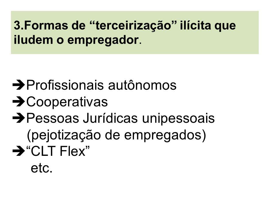 Profissionais autônomos Cooperativas Pessoas Jurídicas unipessoais (pejotização de empregados) CLT Flex etc. 3.Formas de terceirização ilícita que ilu