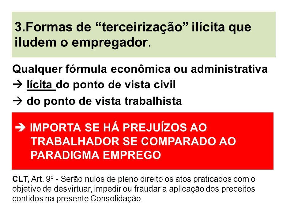 Qualquer fórmula econômica ou administrativa lícita do ponto de vista civil do ponto de vista trabalhista CLT, Art. 9º - Serão nulos de pleno direito