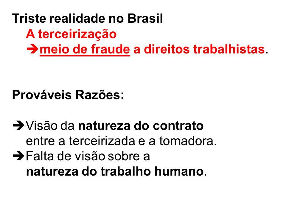 Triste realidade no Brasil A terceirização meio de fraude a direitos trabalhistas. Prováveis Razões: Visão da natureza do contrato entre a terceirizad