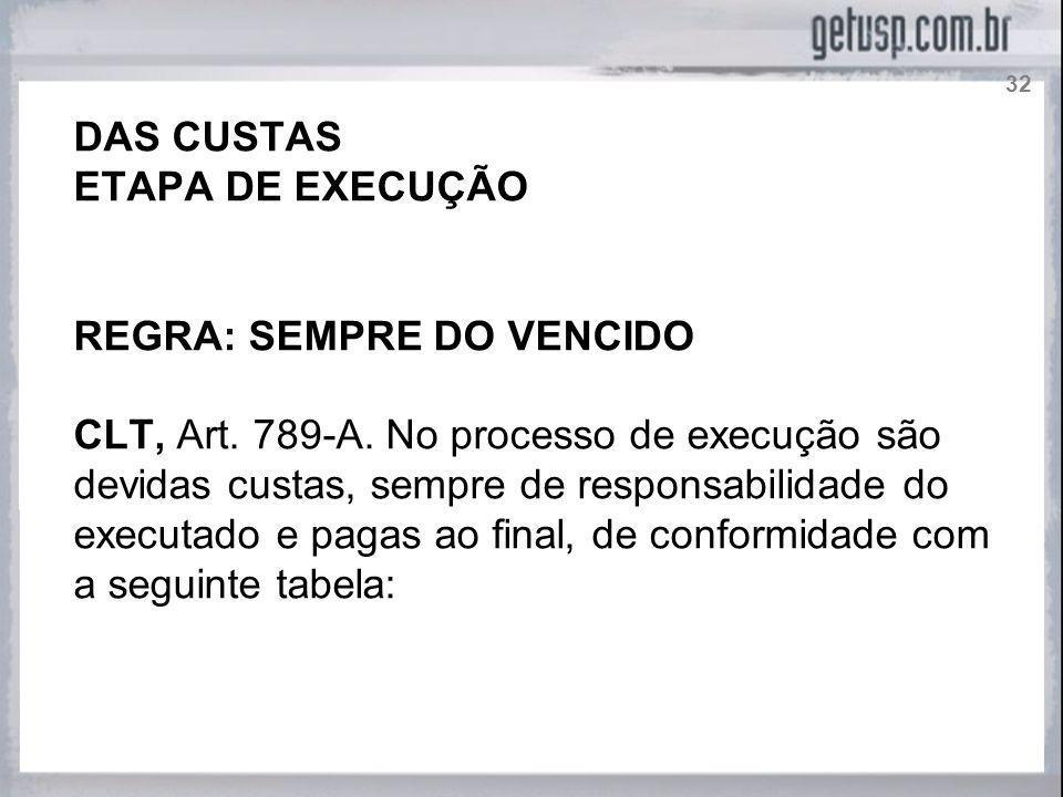 DAS CUSTAS ETAPA DE EXECUÇÃO REGRA: SEMPRE DO VENCIDO CLT, Art. 789-A. No processo de execução são devidas custas, sempre de responsabilidade do execu