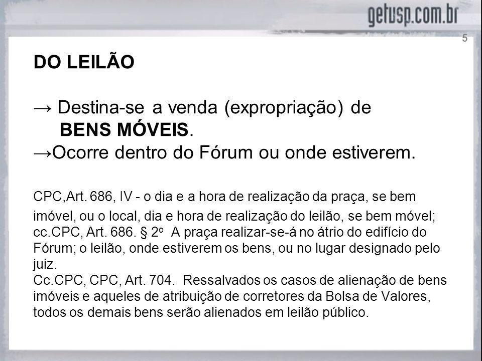ATENÇÃO Muitos doutrinadores e operadores do direito usam indistintamente as expressões Praça e Leilão.