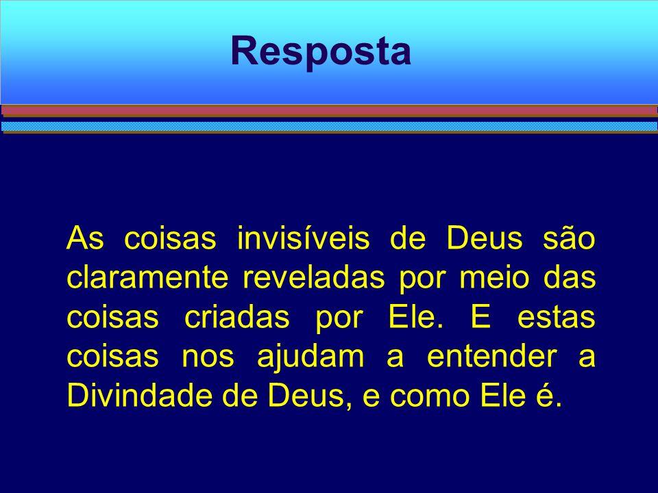 As coisas invisíveis de Deus são claramente reveladas por meio das coisas criadas por Ele. E estas coisas nos ajudam a entender a Divindade de Deus, e
