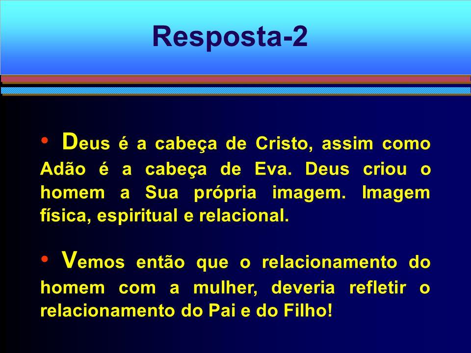 D eus é a cabeça de Cristo, assim como Adão é a cabeça de Eva. Deus criou o homem a Sua própria imagem. Imagem física, espiritual e relacional. V emos