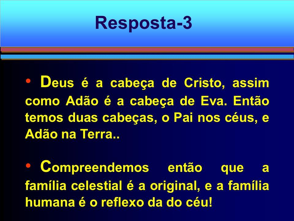 D eus é a cabeça de Cristo, assim como Adão é a cabeça de Eva. Então temos duas cabeças, o Pai nos céus, e Adão na Terra.. C ompreendemos então que a