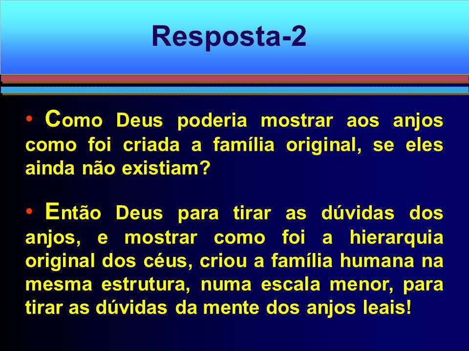 C omo Deus poderia mostrar aos anjos como foi criada a família original, se eles ainda não existiam? E ntão Deus para tirar as dúvidas dos anjos, e mo