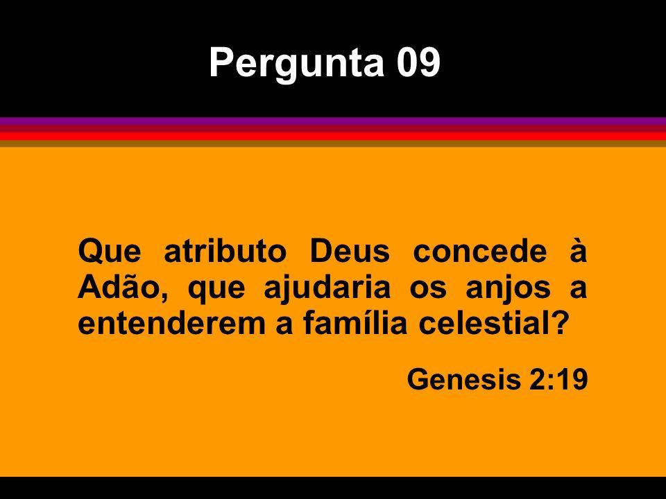 Pergunta 09 Que atributo Deus concede à Adão, que ajudaria os anjos a entenderem a família celestial? Genesis 2:19