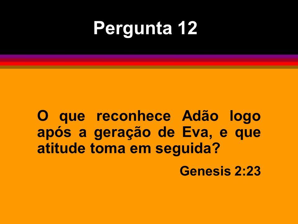 Pergunta 12 O que reconhece Adão logo após a geração de Eva, e que atitude toma em seguida? Genesis 2:23