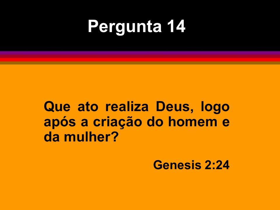 Pergunta 14 Que ato realiza Deus, logo após a criação do homem e da mulher? Genesis 2:24