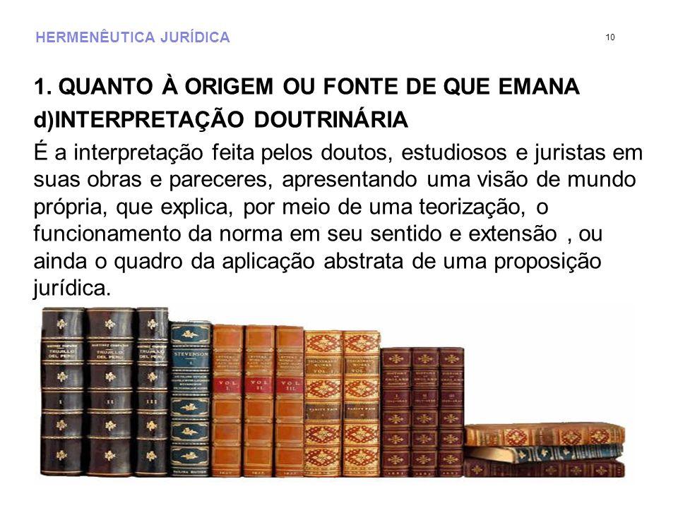 HERMENÊUTICA JURÍDICA 1. QUANTO À ORIGEM OU FONTE DE QUE EMANA d)INTERPRETAÇÃO DOUTRINÁRIA É a interpretação feita pelos doutos, estudiosos e juristas