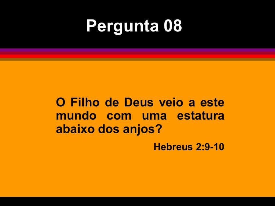 O Filho de Deus veio a este mundo com uma estatura abaixo dos anjos? Hebreus 2:9-10 Pergunta 08